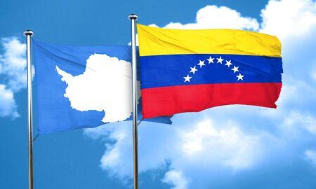 antarctica: antarctica flag with Venezuela flag, 3D rendering