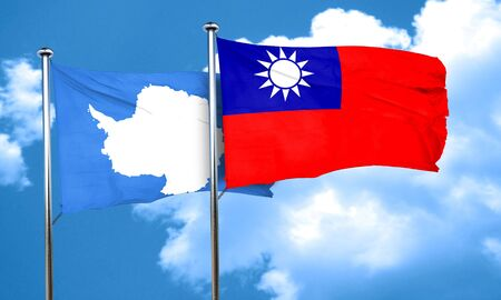 antarctica: antarctica flag with Taiwan flag, 3D rendering Stock Photo