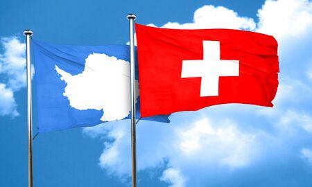 antarctica: antarctica flag with Switzerland flag, 3D rendering