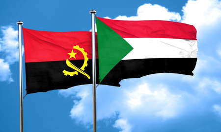 angola: Angola flag with Sudan flag, 3D rendering