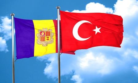turkey flag: Andorra flag with Turkey flag, 3D rendering Stock Photo