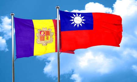 andorra: Andorra flag with Taiwan flag, 3D rendering