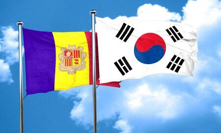 andorra: Andorra flag with South Korea flag, 3D rendering