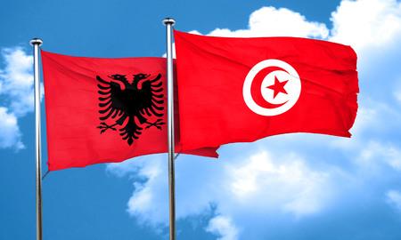 tunisia: Albania flag with Tunisia flag, 3D rendering Stock Photo