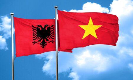vietnam flag: Albania flag with Vietnam flag, 3D rendering Stock Photo