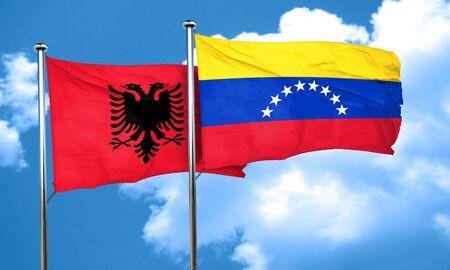 venezuela flag: Albania flag with Venezuela flag, 3D rendering