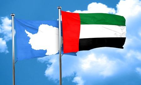 antarctica: antarctica flag with UAE flag, 3D rendering Stock Photo