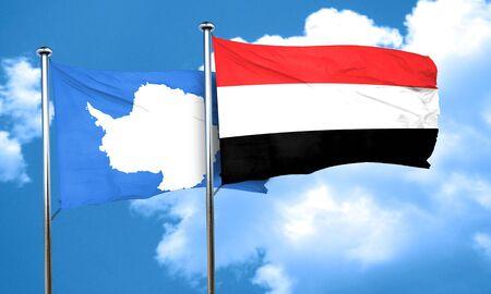 antarctica: antarctica flag with Yemen flag, 3D rendering