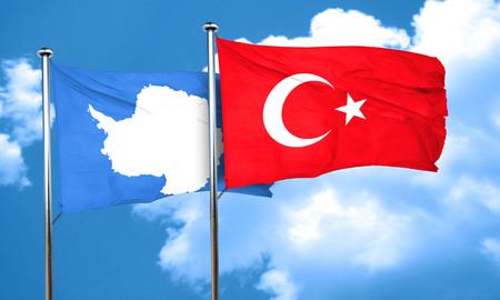 antarctica: antarctica flag with Turkey flag, 3D rendering