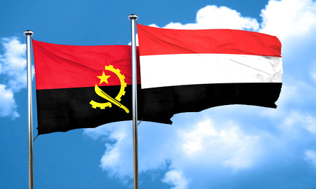 angola: Angola flag with Yemen flag, 3D rendering