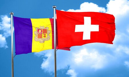 switzerland flag: Andorra flag with Switzerland flag, 3D rendering Stock Photo