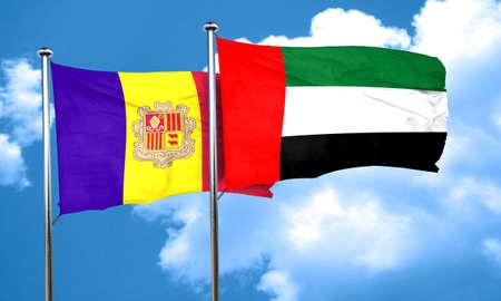 andorra: Andorra flag with UAE flag, 3D rendering