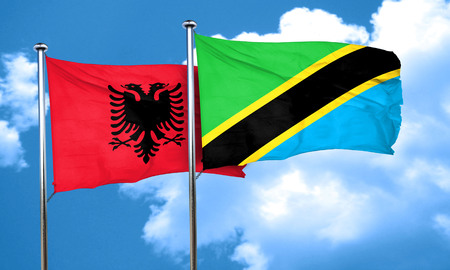 albania: Albania flag with Tanzania flag, 3D rendering