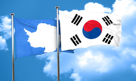 antarctica: antarctica flag with South Korea flag, 3D rendering Stock Photo
