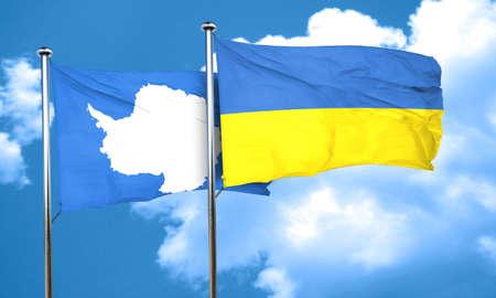 antarctica: antarctica flag with Ukraine flag, 3D rendering