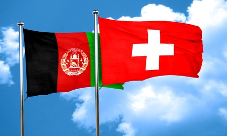 flag pole: Afghanistan flag with Switzerland flag, 3D rendering