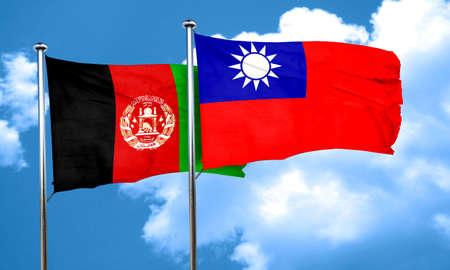 afghan: Afghanistan flag with Taiwan flag, 3D rendering