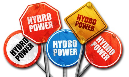 hydro power: Hydro power, 3D rendering, rough street sign collection