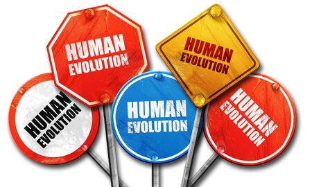 human evolution: Human evolution, 3D rendering, rough street sign collection