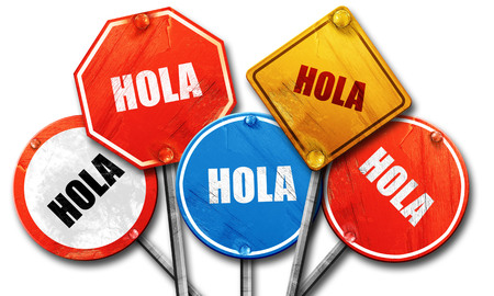 hola, 3D rendering, rough street sign collection Stock Photo