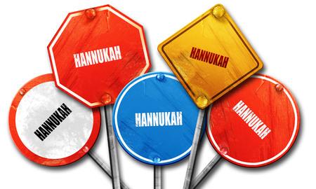 hanukka: hannukah, 3D rendering, rough street sign collection