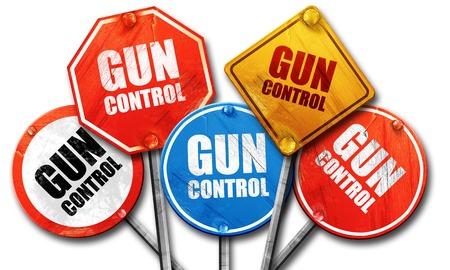 gun control: gun control, 3D rendering, rough street sign collection Stock Photo
