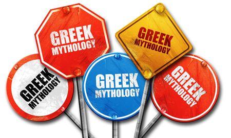 greek mythology: greek mythology, 3D rendering, rough street sign collection