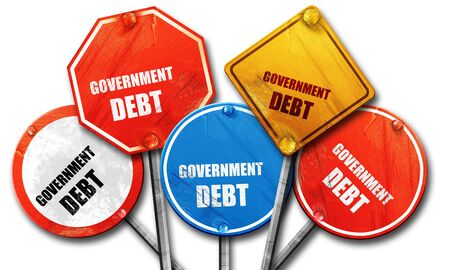 debt collection: government debt, 3D rendering, rough street sign collection