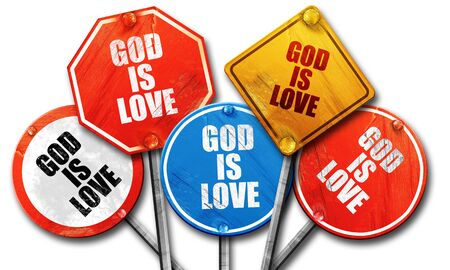 god 3d: god is love, 3D rendering, rough street sign collection