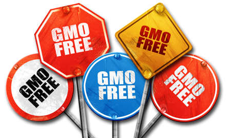 genetically modified organisms: gmo free, 3D rendering, rough street sign collection