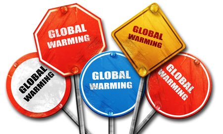 global warming, 3D rendering, rough street sign collection Stock Photo