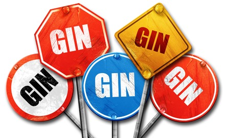 gin: gin, 3D rendering, rough street sign collection