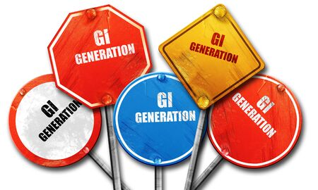 gi: GI Generation, 3D rendering, rough street sign collection Stock Photo