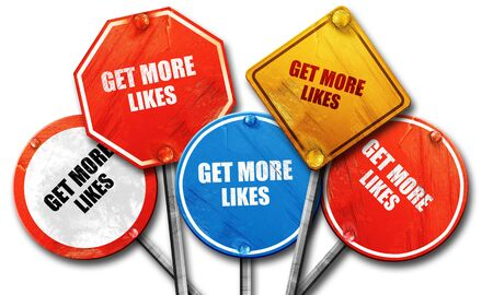 likes: get more likes, 3D rendering, rough street sign collection Stock Photo