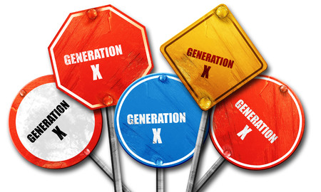 generation x: generation x word, 3D rendering, rough street sign collection