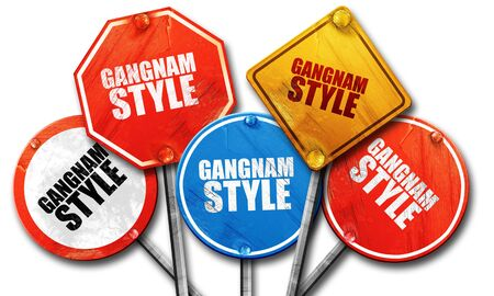 gangnam: gangnam style, 3D rendering, rough street sign collection