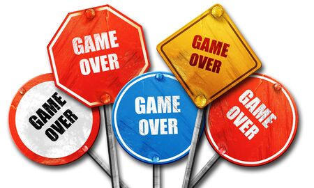 unsuccess: game over, 3D rendering, rough street sign collection