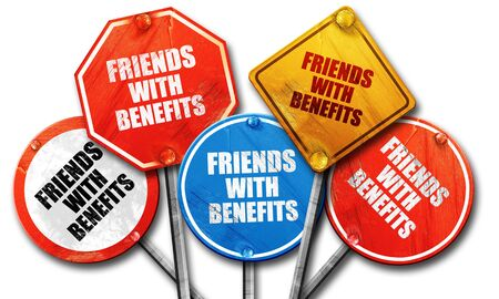 sexual relations: friends with benefits, 3D rendering, rough street sign collection