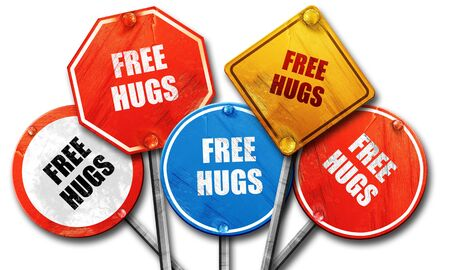 hugs: free hugs, 3D rendering, rough street sign collection