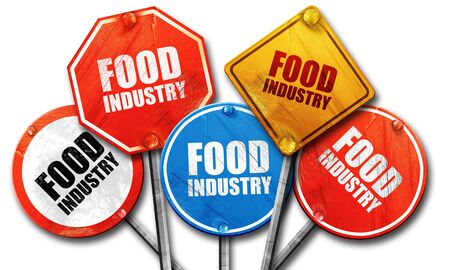 food industry: food industry, 3D rendering, rough street sign collection