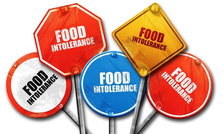 intolerancia: food intolerance, 3D rendering, rough street sign collection