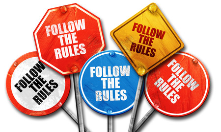 follow the rules, 3D rendering, rough street sign collection