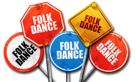 folk dance: folk dance, 3D rendering, rough street sign collection Stock Photo