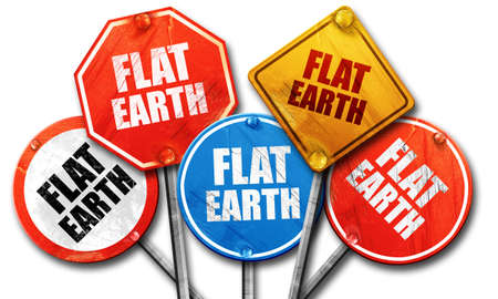 flat earth: flat earth, 3D rendering, rough street sign collection