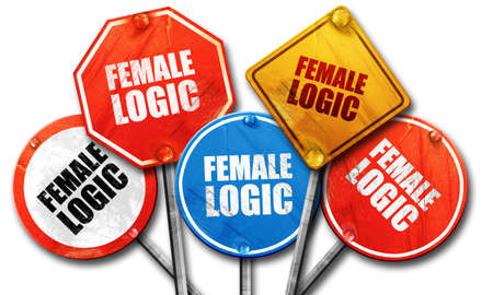 logic: female logic, 3D rendering, rough street sign collection