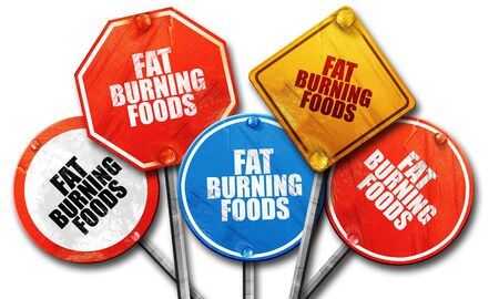 fat burning: fat burning foods, 3D rendering, rough street sign collection Stock Photo