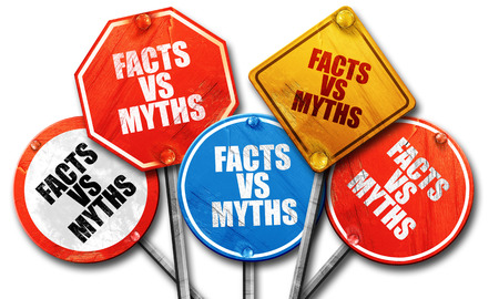 myths: facts vs myths, 3D rendering, rough street sign collection