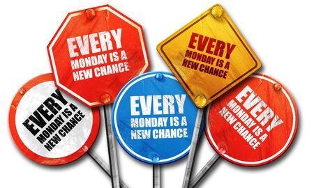 another way: every monday is a new chance, 3D rendering, rough street sign collection Stock Photo