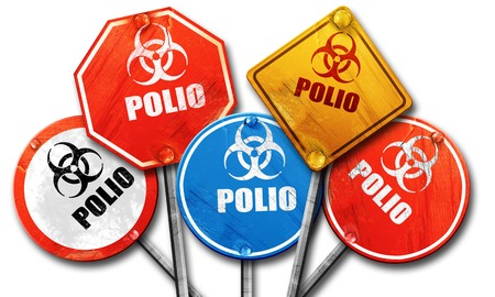 polio: Polio concept background with some soft smooth lines, 3D rendering, rough street sign collection Stock Photo