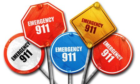 emergency 911, 3D rendering, rough street sign collection Imagens